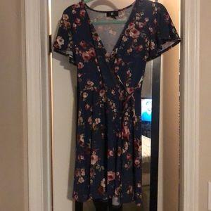 Blue Floral Short Sleeve Wrap Dress